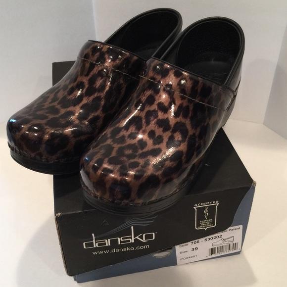 25c33eeced8 Dansko Professional Brown patent Leopard Print 39