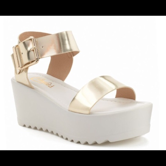 fd623ba6c Candie s Shoes - Gold and white platform sandal