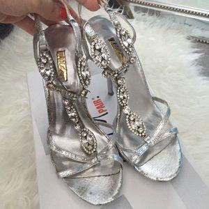 Wild Pair Shoes - Wild Pair Silver Rhinestone T-Strap Heels