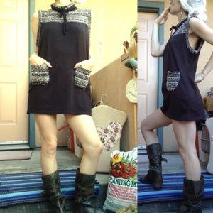 Anthropologie Sweaters - Financier Mod Fall Brown Mini Sweater Dress