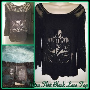 Ultra Flirt Black Lace Top Size Large