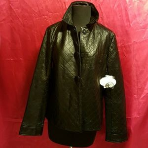 Jaclyn smith leather coat new