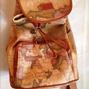 World Map Faux Leather Backpack