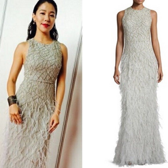 Alice Olivia Dresses Alice Olivia Feather Sequin Evening Gown