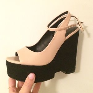 Zara Wedges Nude and Black Heels - Size 6.5