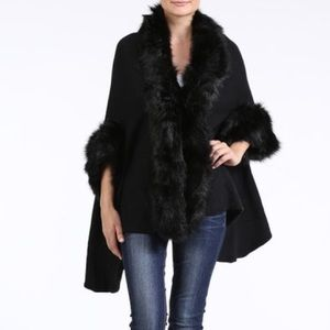 """Invictus"" Fur Trim Poncho Wrap Cardigan"