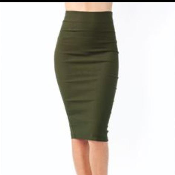 63 dresses skirts olive green midi skirt from