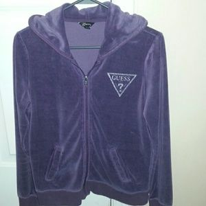 Guess purple velour zip up jacket