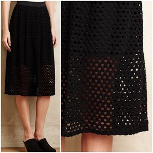 Anthropologie Lasercut Midi Skirt by Weston Wear