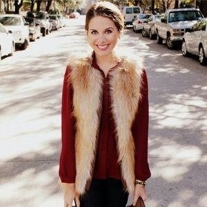 Sanctuary faux fur vest with leather belt!
