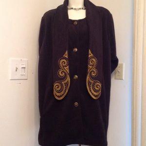 Bob Mackie Jackets & Blazers - BLACK FLEECE DRESS JACKET WITH ATTACHED SCARF