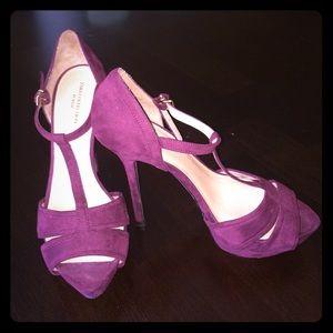 Plum T-Strap High Heels