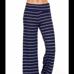 Flare leg navy stripe pants