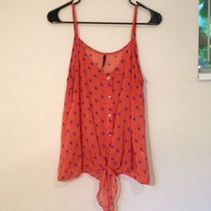 Tops - Orange and blue button tank top