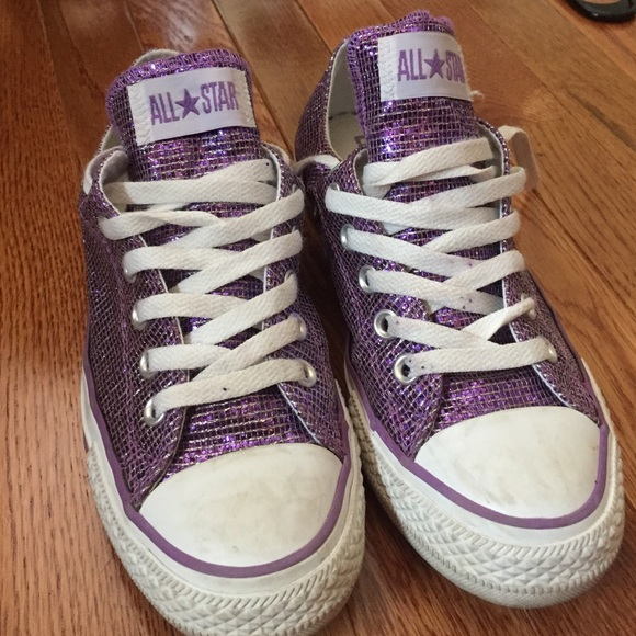 5c57aaae3616 Converse Shoes - Sparkly purple all star converse
