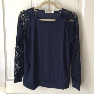 Tops - Navy top with lace sleeves