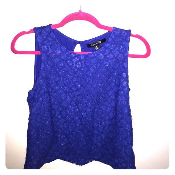 Forever 21 Tops Forever21 Royal Blue Lace Tank Top Poshmark