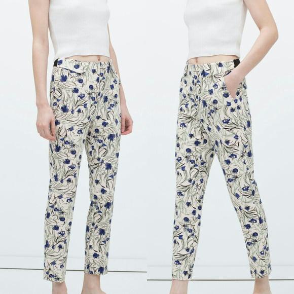 2a4d9a31 Zara Pants | Floral Printed Trousers | Poshmark