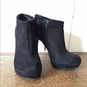 Black Suede Heeled Booties