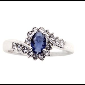 Crystal & Blue Glass Ring