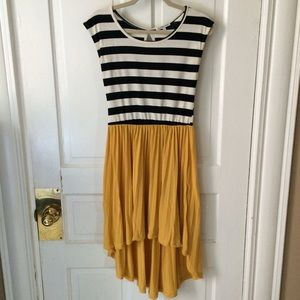 Charlotte Russe Dresses & Skirts - Cute hi-low striped dress with mustard skirt