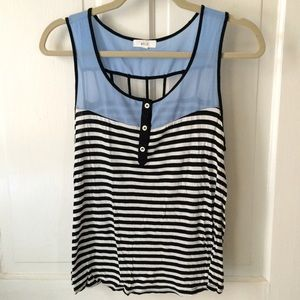 Tops - Black + white striped tank