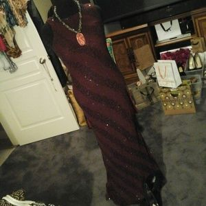 Monsoon Dresses & Skirts - Sweet Monsoon burgundy and black striped gown