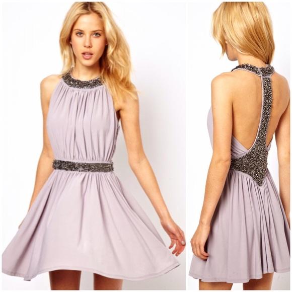 ASOS Embellished Lavender Gray Skater Dress b8de13b03