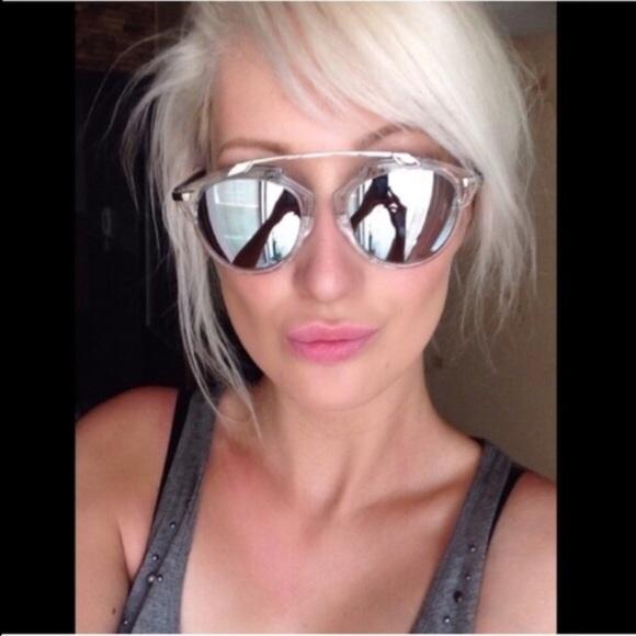 5b9a1c2157fb Accessories - Silver Mirror Lens Clear Frame Sunglasses