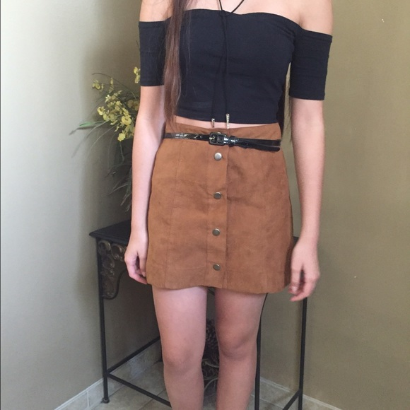 Tan Suede Button down a-line skirt Like topshop S from Tammy's ...