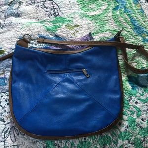 Faux leather brilliant blue cross body bag
