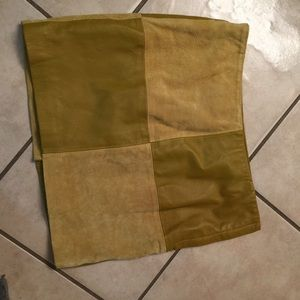 Leather olive green skirt