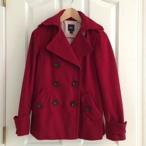 Gap Red Wool Peacoat size S