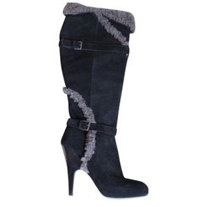 Black Suede and Grey Fur Knee High Boots