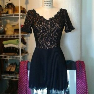 Dresses & Skirts - Vintage Black Lace and Pleated Dress