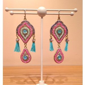 Vintage Jewelry - Gorgeous Pink & Blue Earrings