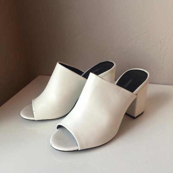 White Mules Block Heel Slip Ons | Poshmark
