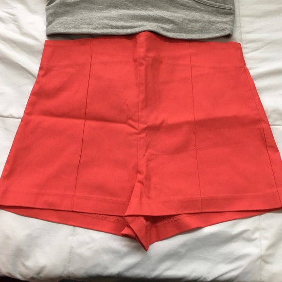 41% off Charlotte Russe Pants - Coral high waisted shorts from ...