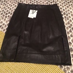 Diane von Furstenberg Dresses & Skirts - Black Leather DVF Pencil Skirt