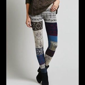 FREE PEOPLE PATCHWORK LEGGINGS