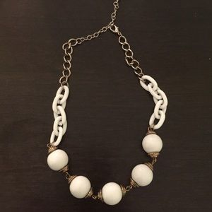 White and Gold Ball/Chain Necklace