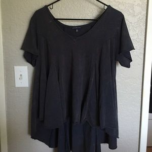 Tops - Navy Blue Flowy Shirt