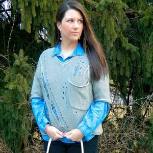 Willow & Clay Sweaters - Silver Threaded Distressed Sweater