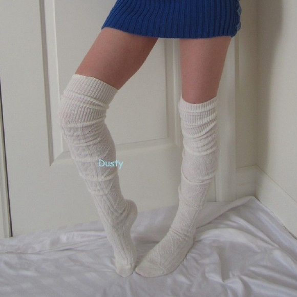 4419444411f Cable Knit Over The Knee Socks Thigh High Boot OTK