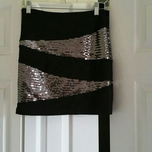 Black and silver sequin mini skirt