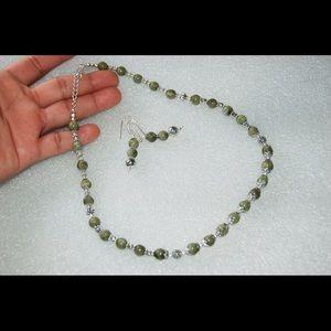 handmade & handcrafted gemstone jewelry Jewelry - Handmade Serpentine Necklace & Earrings Set