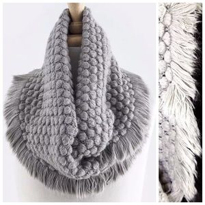 B9 Soft Bubble Texture Gray Cowl Infinity Scarf