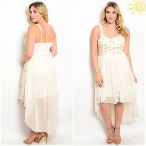 Cream hi low dress