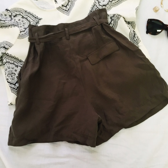 42% off Zara Pants - Zara Olive Green High Waisted Shorts with Tie ...