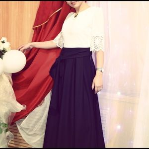 Dresses & Skirts - Evening gown, white top, blue skirt.